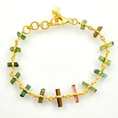 13.66cts natural multi color tourmaline 925 silver tennis bracelet r33270