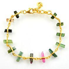 15.02cts natural multi color tourmaline 925 silver tennis bracelet r33271