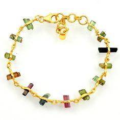 14.47cts natural multi color tourmaline 925 silver tennis bracelet r33278