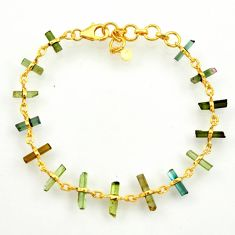 13.99cts natural multi color tourmaline 925 silver tennis bracelet r33279