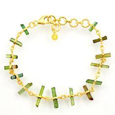 12.10cts natural multi color tourmaline silver 14k gold tennis bracelet r33243