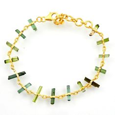 12.58cts natural multi color tourmaline silver 14k gold tennis bracelet r33247