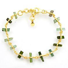 13.09cts natural multi color tourmaline silver 14k gold tennis bracelet r33249