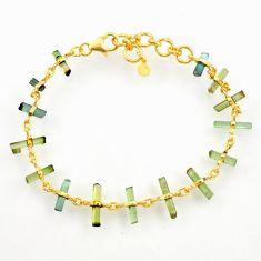 12.58cts natural multi color tourmaline silver 14k gold tennis bracelet r33254