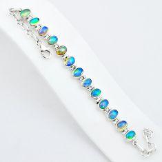 19.04cts natural multicolor ethiopian opal 925 sterling silver bracelet t5901