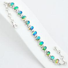 18.72cts natural multicolor ethiopian opal 925 sterling silver bracelet t5903