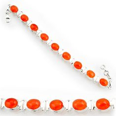 40.24cts natural orange cornelian (carnelian) 925 silver tennis bracelet d44321