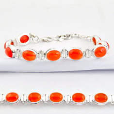37.08cts natural orange cornelian (carnelian) 925 silver tennis bracelet r38805