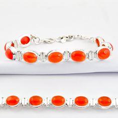 37.02cts natural orange cornelian (carnelian) 925 silver tennis bracelet r38817