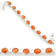 Clearance Sale- 38.72cts natural pink moonstone 925 sterling silver tennis bracelet d44373