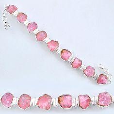 69.20cts natural pink morganite rough 925 sterling silver tennis bracelet r61773