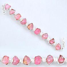 71.87cts natural pink morganite rough 925 sterling silver tennis bracelet r61774