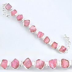 63.65cts natural pink morganite rough 925 sterling silver tennis bracelet r61775