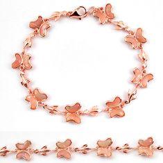 Natural pink opal 925 silver 14k rose gold butterfly bracelet a59352 c13959