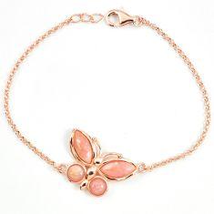 Natural pink opal 925 silver 14k rose gold butterfly bracelet a68591 c13943