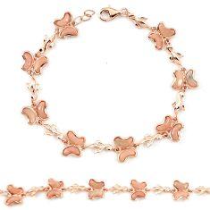 Natural pink opal 925 silver 14k rose gold butterfly bracelet a76021 c13955