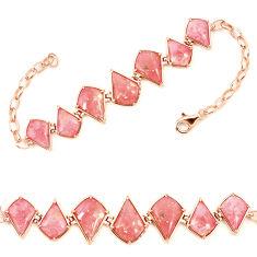 Natural pink opal 925 sterling silver 14k gold bracelet jewelry a76009 c13931