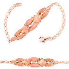 Natural pink opal 925 sterling silver 14k rose gold bracelet a68581 c13949