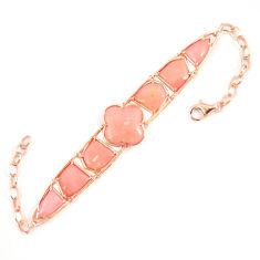 Natural pink opal 925 sterling silver 14k rose gold bracelet a68610 c13932