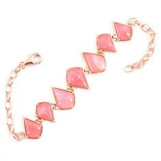 Natural pink opal 925 sterling silver 14k rose gold bracelet a68614 c13934