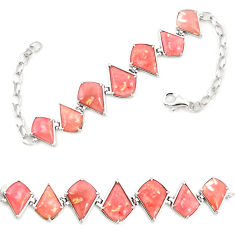 Natural pink opal 925 sterling silver bracelet jewelry a76013 c13933