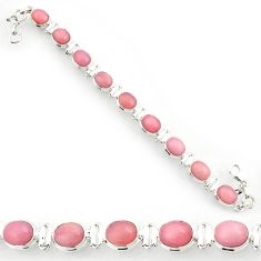 Clearance Sale- 36.26cts natural pink opal 925 sterling silver tennis bracelet jewelry d44341
