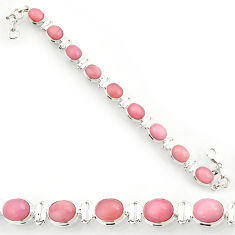 Clearance Sale- 35.83cts natural pink opal 925 sterling silver tennis bracelet jewelry d44342