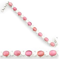 36.96cts natural pink opal 925 sterling silver tennis bracelet jewelry d44345