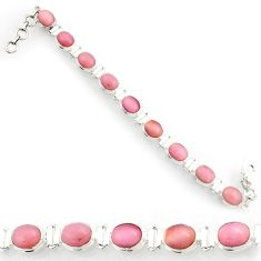 Clearance Sale- 36.67cts natural pink opal 925 sterling silver tennis bracelet jewelry d44347