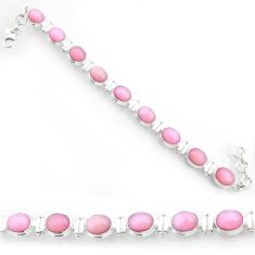 36.96cts natural pink opal 925 sterling silver tennis bracelet jewelry r72983