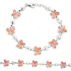 Natural pink opal fancy 925 silver butterfly bracelet jewelry a76023 c13957