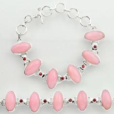 45.66cts natural pink opal garnet 925 sterling silver tennis bracelet r27426