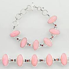 46.09cts natural pink opal garnet 925 sterling silver tennis bracelet r27427