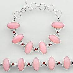 46.49cts natural pink opal garnet 925 sterling silver tennis bracelet r27429