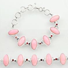 46.13cts natural pink opal garnet 925 sterling silver tennis bracelet r27430
