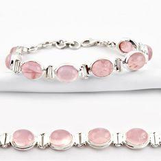 39.03cts natural pink rose quartz 925 sterling silver tennis bracelet r38923