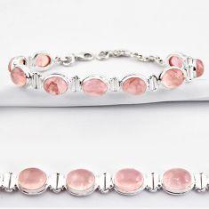 38.68cts natural pink rose quartz 925 sterling silver tennis bracelet r38926
