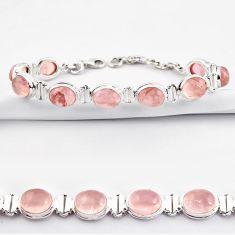 39.01cts natural pink rose quartz 925 sterling silver tennis bracelet r38937