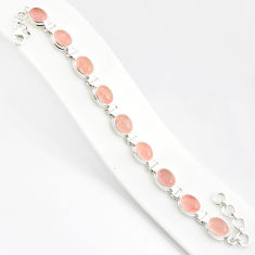37.43cts natural pink rose quartz 925 sterling silver tennis bracelet r84206