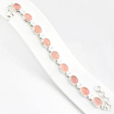 38.23cts natural pink rose quartz 925 sterling silver tennis bracelet r84214