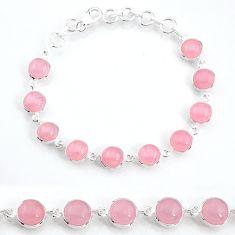 28.06cts natural pink rose quartz 925 sterling silver tennis bracelet t16161