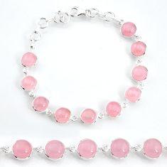 28.08cts natural pink rose quartz 925 sterling silver tennis bracelet t16163