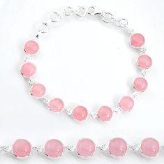 27.69cts natural pink rose quartz 925 sterling silver tennis bracelet t16166