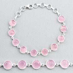 28.08cts natural pink rose quartz 925 sterling silver tennis bracelet t48721