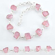 33.33cts natural pink rose quartz raw 925 silver tennis bracelet t7803