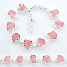 37.43cts natural pink rose quartz raw 925 silver tennis bracelet t7832