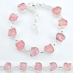 35.38cts natural pink rose quartz raw 925 silver tennis bracelet t7833