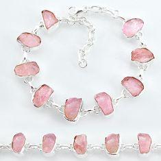32.57cts natural pink rose quartz raw 925 silver tennis bracelet t7834