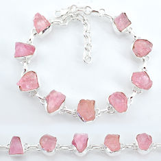 34.58cts natural pink rose quartz raw 925 silver tennis bracelet t7836