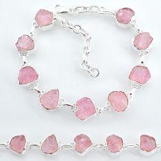 32.45cts natural pink rose quartz raw 925 silver tennis bracelet t7837